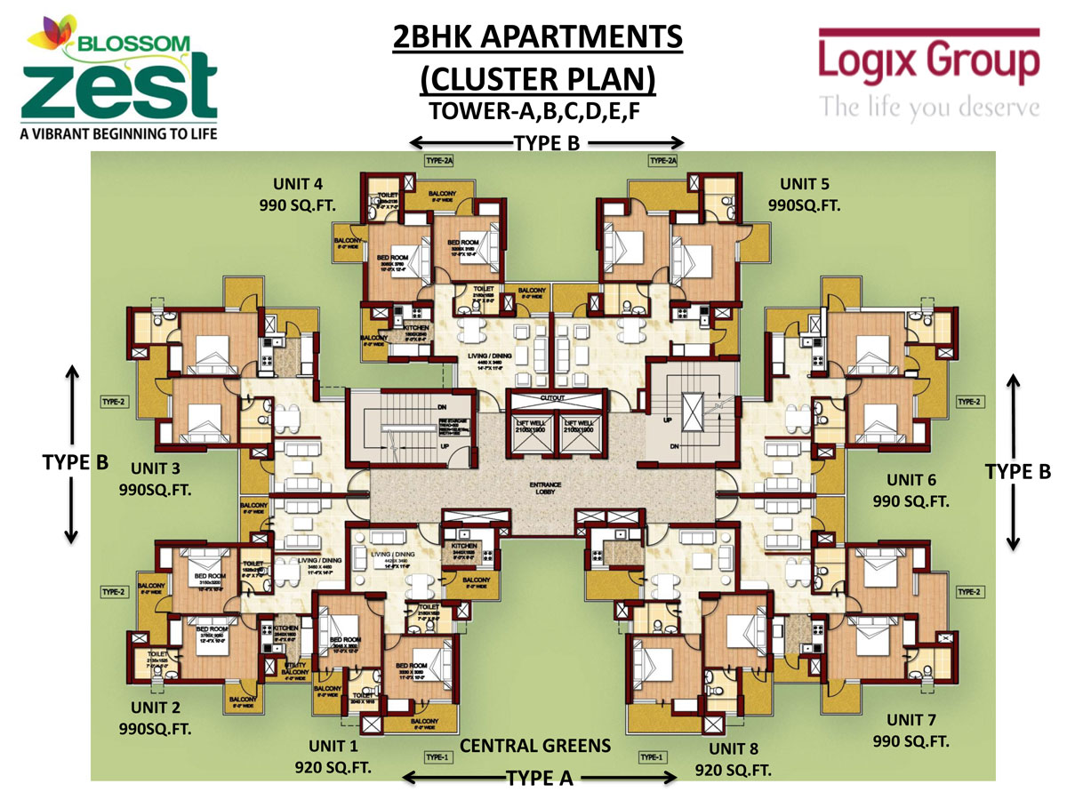 Blossom zest sector 143 noida studio and 2bhk apartments for Cluster house floor plan